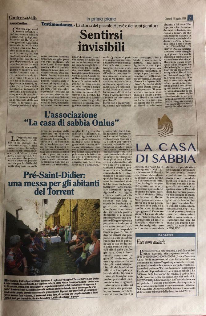 Corriere della valle la casa di sabbia onlus for Corriere della casa