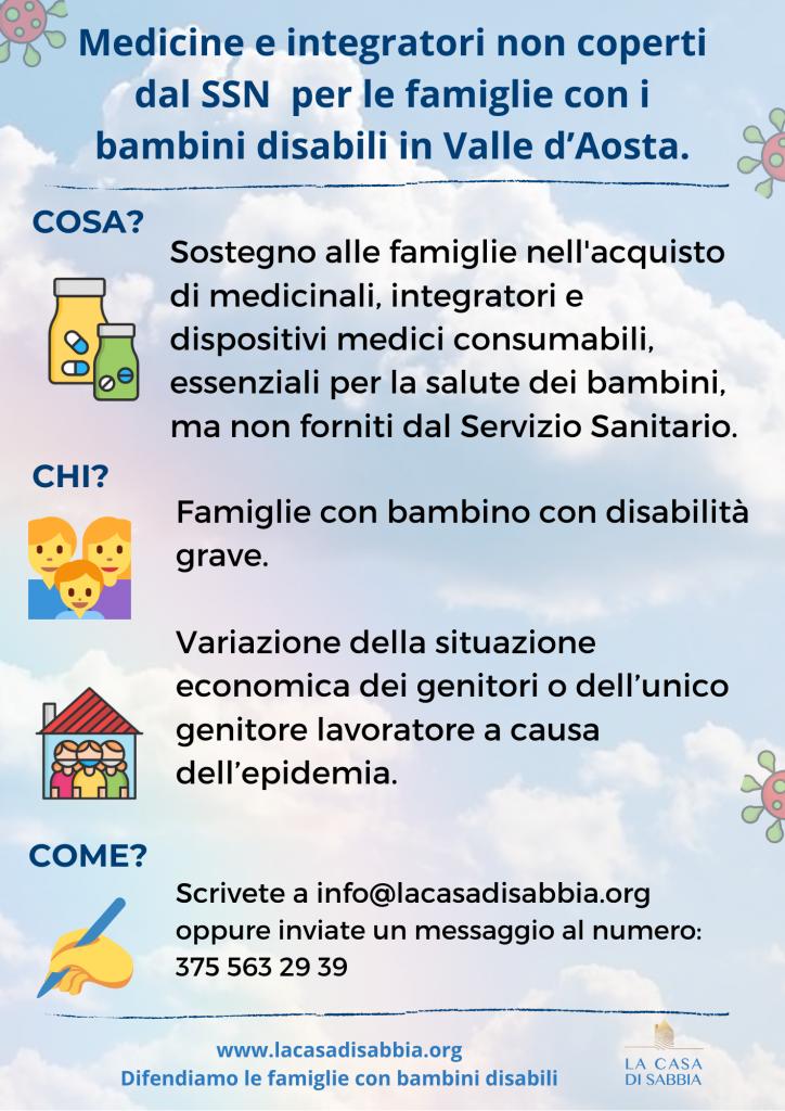 Medicine e integratori non coperti dal SSN per le famiglie con i bambini disabili in Valle d'Aosta.